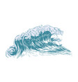 stylish drawing sea or ocean wave with foaming vector image