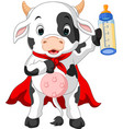 superhero cow cartoon posing vector image