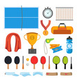 table tennis icons set table tennis vector image