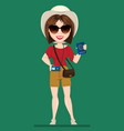 tourist woman traveler in sunglasses holding vector image
