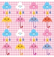 umbrellas raindrops clouds cute characters pattern vector image vector image