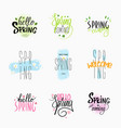 with handwritten lettering spring greetings vector image