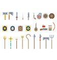 medieval game weapons set fantasy rpg vector image