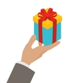Small gift box in a mans hand vector image