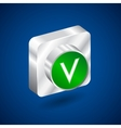 Validation accepted metall green button vector image