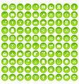 100 internet marketing icons set green circle vector image vector image