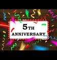 5 anniversary gold numbers vector image vector image