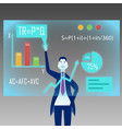 a businessman stands in front of a virtual board vector image