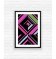 Abstract geometric poster frame on brick wall vector image vector image