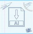 ai file document icon download ai button line vector image vector image