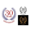 Anniversary celebration emblem with wreath vector image