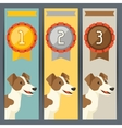 Award vertical banners with dog winning medal vector image vector image