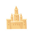 big castle made of sand fortress with high towers vector image vector image
