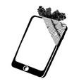 broken screen smartphone icon simple black style vector image vector image