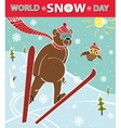 Brown bear ski jumping World Snow day vector image vector image