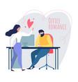 cartoon man woman flirt love relationship at work vector image vector image