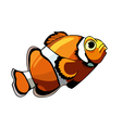 Cartoon orange fish with white stripes clown fish vector image
