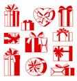 celebration icon set gift boxes vector image