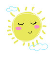 childs drawing of sun cute cartoon character vector image