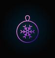 christmas ball colorful outline icon or vector image