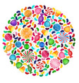 colorful candy background with concept circle vector image vector image