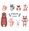 cute forest animals cartoon woodland characters vector image