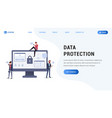 data protection landing web page vector image