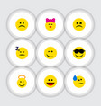 flat icon emoji set of tears caress sad and vector image vector image