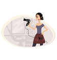 girl hairdresser in workplace vector image vector image