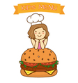 girl with hamburger vector image vector image