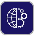 globe and gear icon vector image