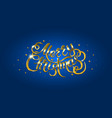 golden text on blue background merry christmas vector image
