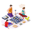 happy family with kid playing board game sitting vector image