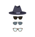 hat and glasses collection vector image vector image