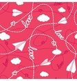Hearts Clouds Paper Planes Love Seamless Pattern vector image vector image