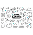 hello summer doodle on white background summer vector image vector image