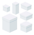 isometric white boxes of different sizes for vector image vector image