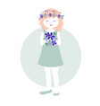 little girl with garlands flowers in her hair vector image vector image