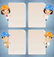 manager in helmet looking at blank poster set vector image vector image