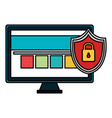 monitor computer with shield padlock vector image vector image