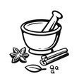 mortar and pestle with spices outline style vector image vector image