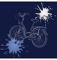 Outline of bicycle with watercolor blots vector image