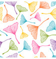 pattern with colorful ginkgo biloba leaves vector image