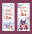 romantic gift shop vertical banner vector image vector image