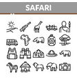 safari travel collection elements icons set vector image vector image