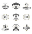set fitness center and sport gym logos and badges vector image vector image