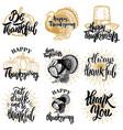 Set happy thanksgiving badges turkey pumpkin