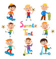 set of summer childs outdoor activities vector image
