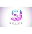 sj lines warp logo design letter icon made vector image vector image