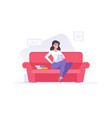 smiling flat woman character with textbooks on vector image